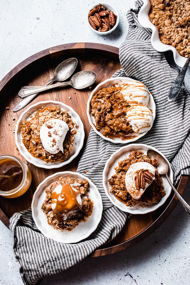 pumpkin cobbler with vanilla ice cream