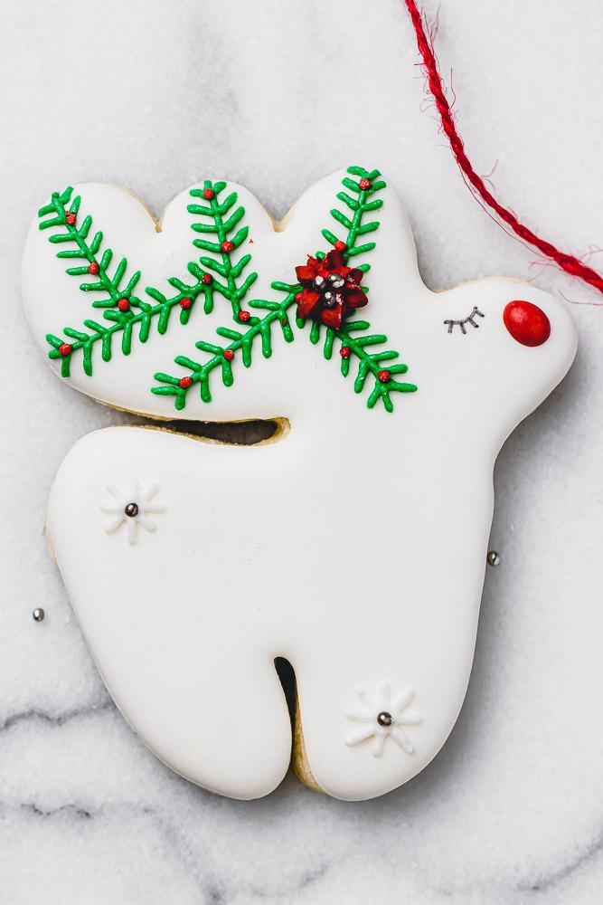 reindeer royal icing cookie