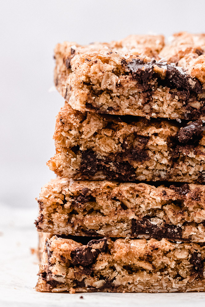 sideview of oatmeal chocolate cookie bars