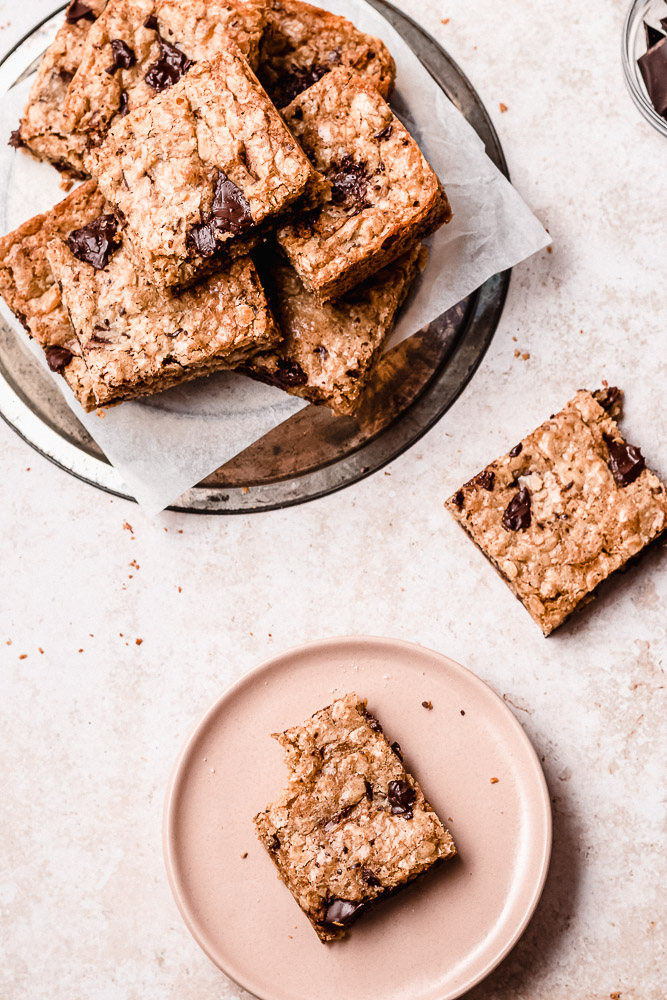 grouping of oatmeal chocolate cookie bars