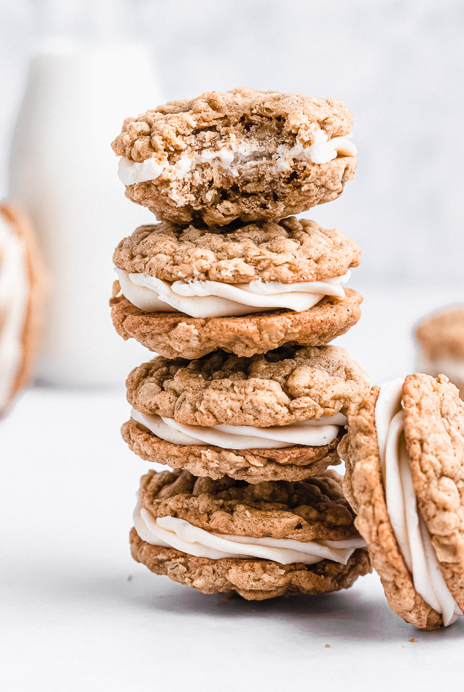 stack of oatmeal sandwich cookies with bite taken