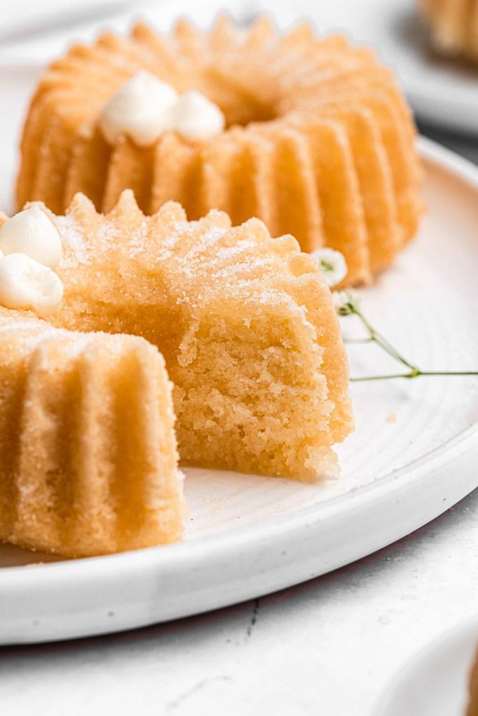 piece of lemon bundt cake cut