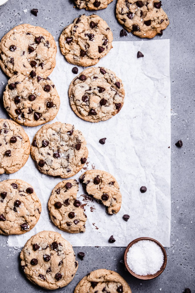flat lay of thick and chewy chocolate chip cookies
