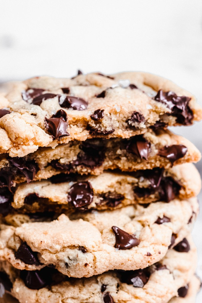 close up of the inside of thick and chewy chocolate chip cookies