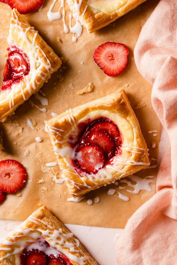 cheese danish recipe with lemon cream cheese filling and strawberries