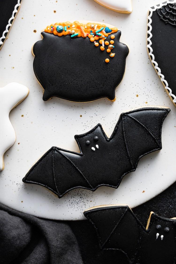 black bat cookie royal icing