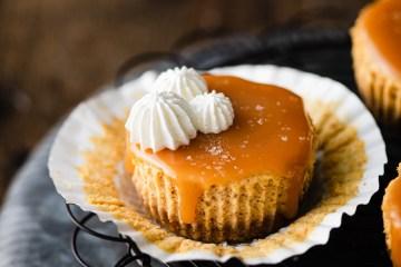 mini pumpkin cheesecake with salted caramel