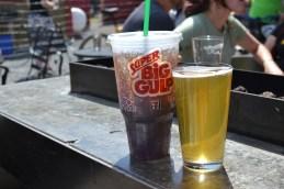 Brice was proud of his beer, Alyssa was more proud of her Big Gulp Diet Coke.