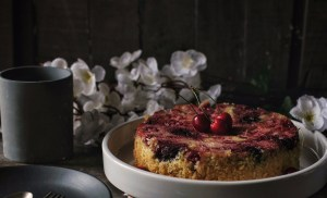 Upside down Cherry and Coconut cake.