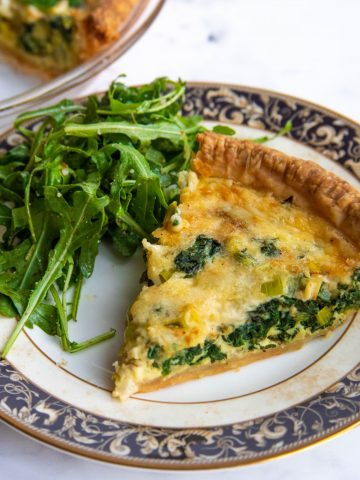 Spinach and Leek Quiche with Arugula Salad