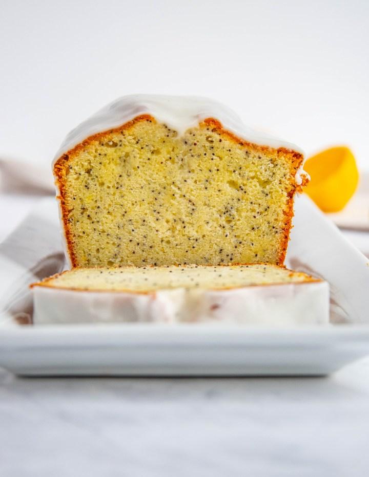 Meyer Lemon Poppy Seed Cake on a white platter