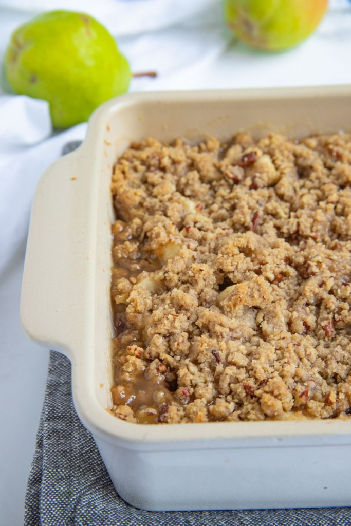 Pear Crisp baked in a 9x9 stoneware pan