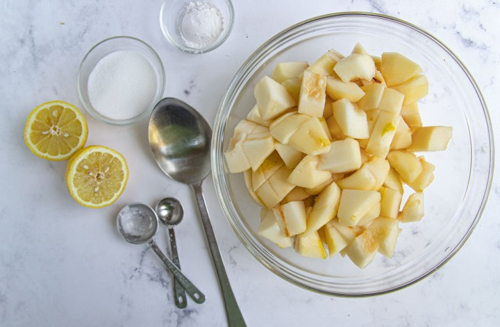 Chopped pears in a bowl
