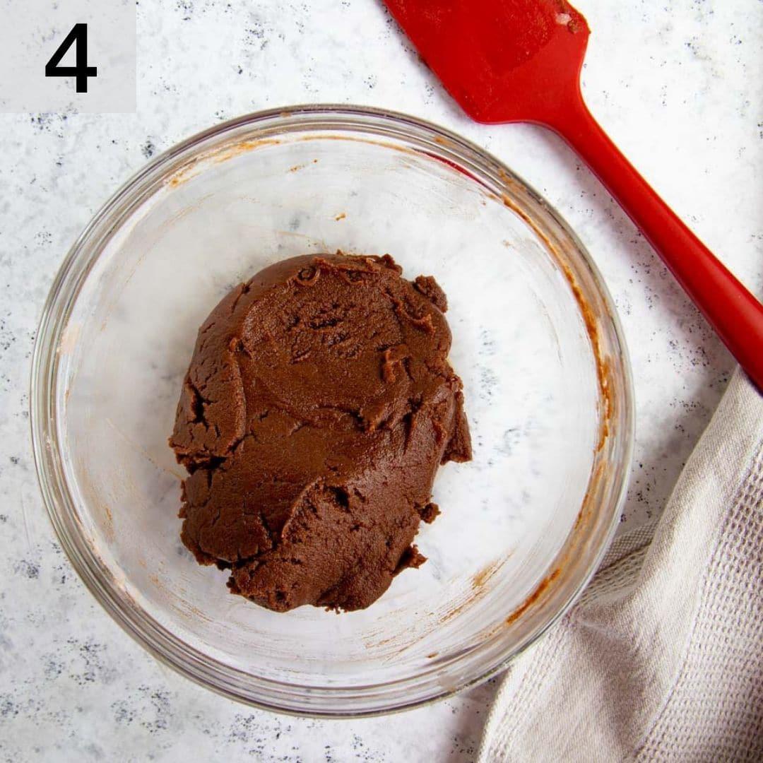 Chocolate Tart Dough in a Mixing Bowl