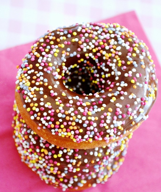 Chocolate Glazed Spiced Cake Doughnuts