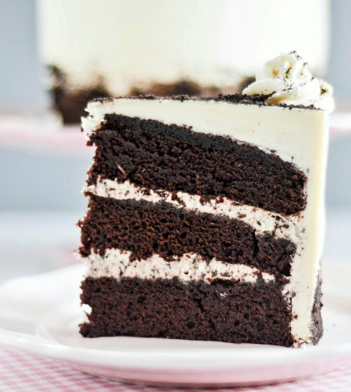 Cookies and Cream Filled Chocolate Cake
