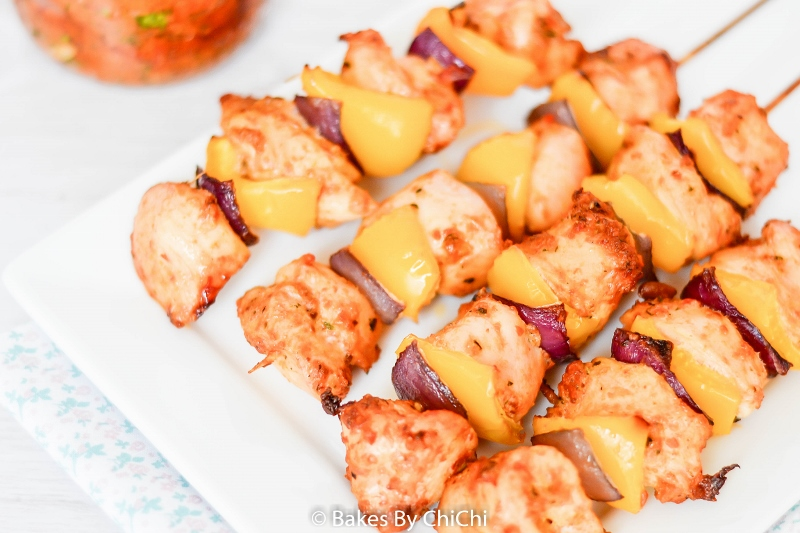 Red Pesto Chicken Kebabs