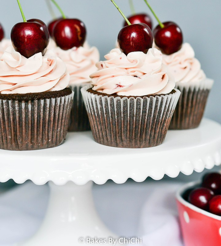 Devil's Food Cupcakes filled with Cherry Compote and Frosted with Cherry Buttercream