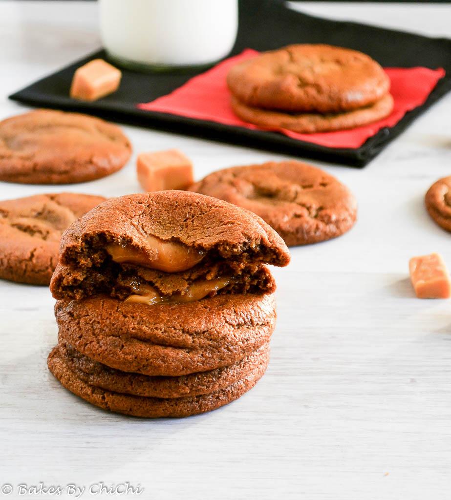 Caramel Stuffed Gingerbread Cookies