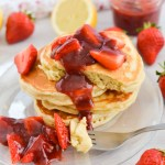 Fluffy Lemon Pancakes with Strawberry Sauce