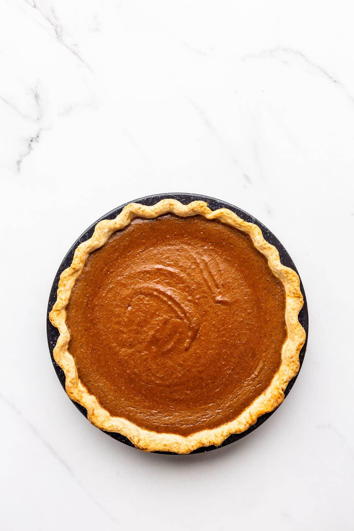 Freshly baked pumpkin pie.