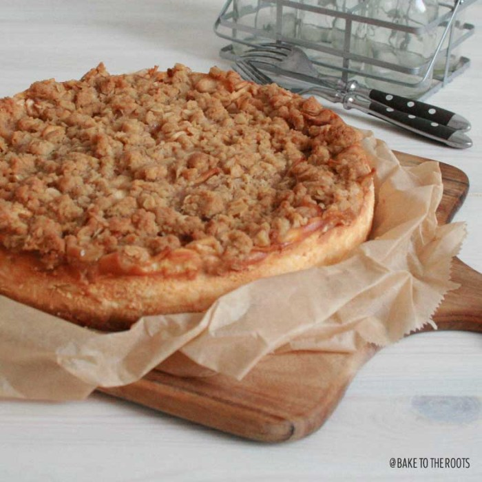 Caramel Apple Crisp Cheesecake | Bake to the roots