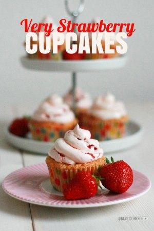 Erdbeerige Erdbeer Cupcakes