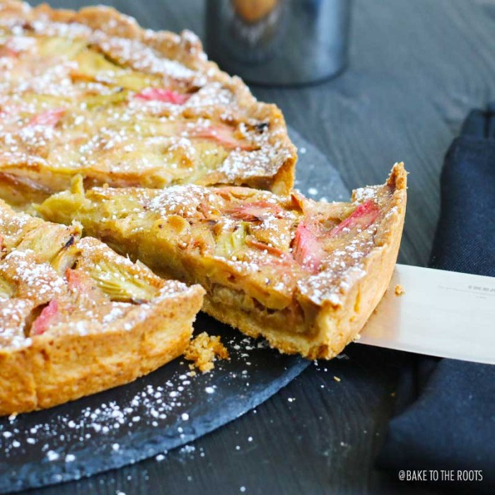Rhubarb Tart with Bourbon Browned Butter and Almond Crust | Bake to the roots