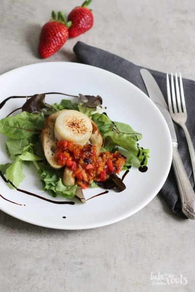 Flambéed Goat Cheese with Strawberry Salsa | Bake to the roots