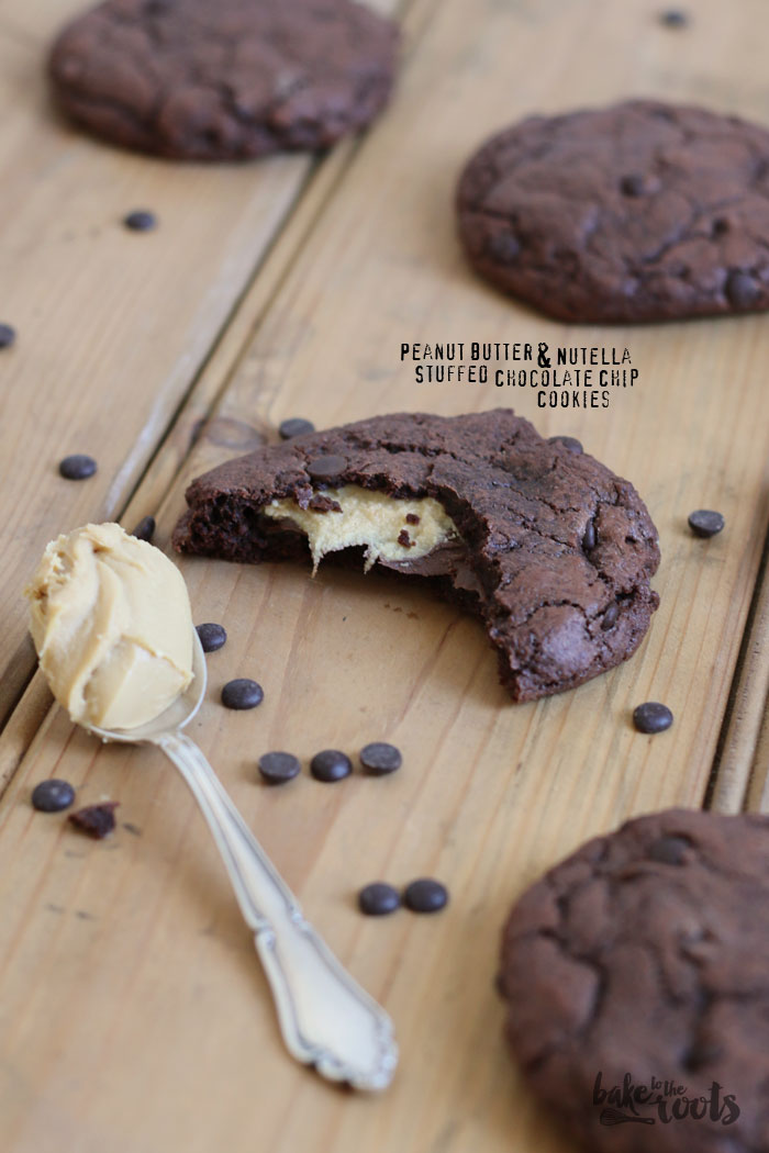 Vegan Peanut Butter Stuffed Chocolate Chip Cookies