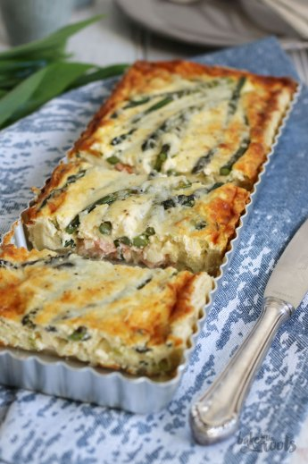Smoked Salmon & Green Asparagus Quiche | Bake to the roots