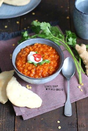 Lentil Soup with Pita Bread