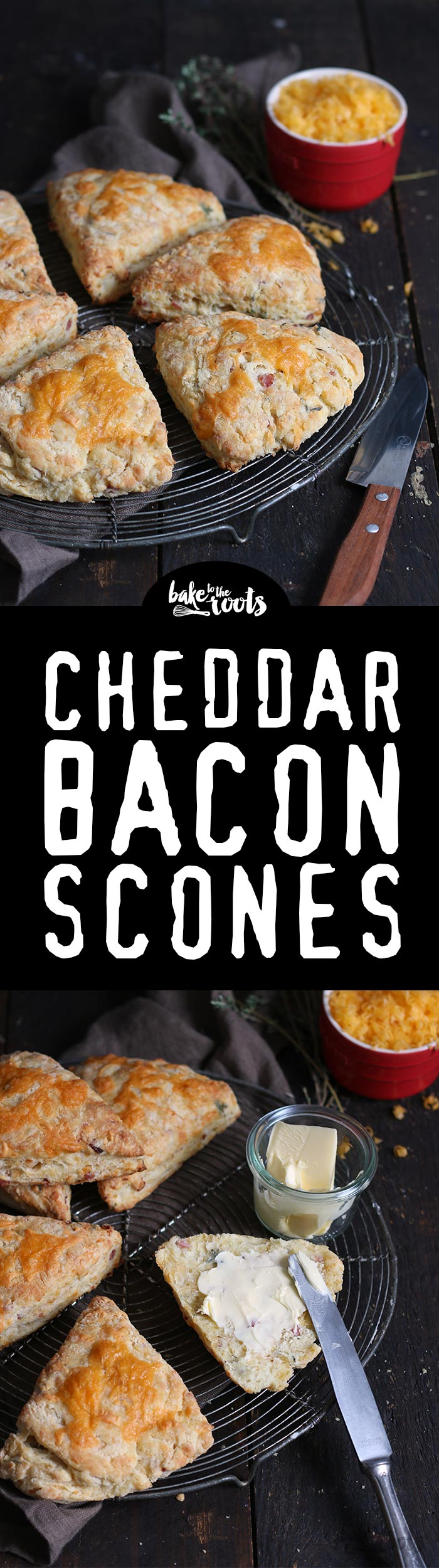 Delicious Scones with Cheddar Cheese, Bacon and Fresh Thyme | Bake to the roots