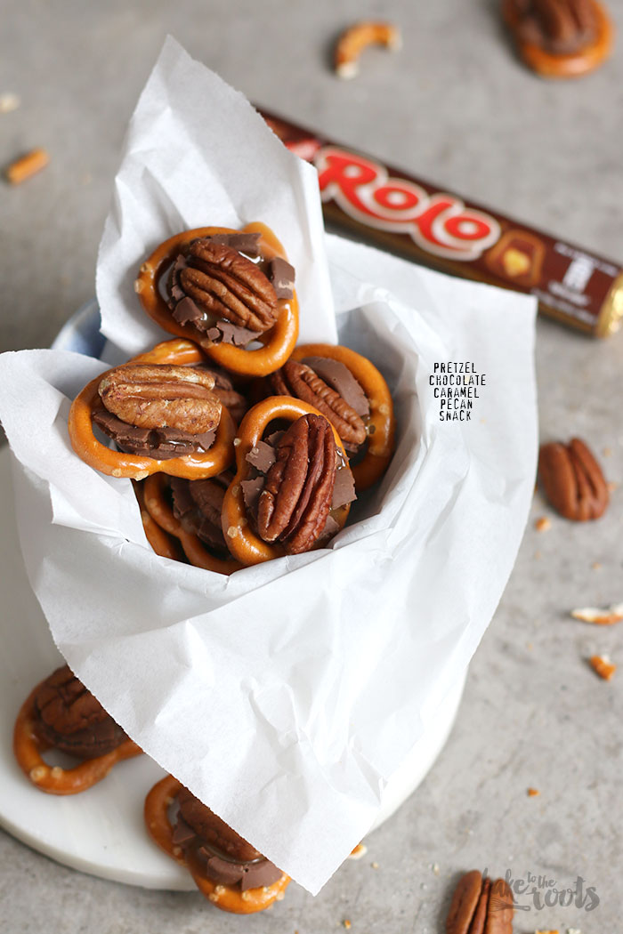 Pretzel Chocolate Caramel Pecan Snack | Bake to the roots