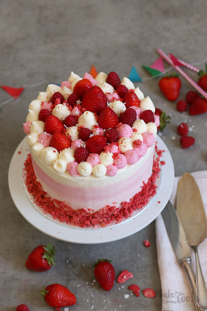 Strawberry Rasberry Ombre Cake | Bake to the roots