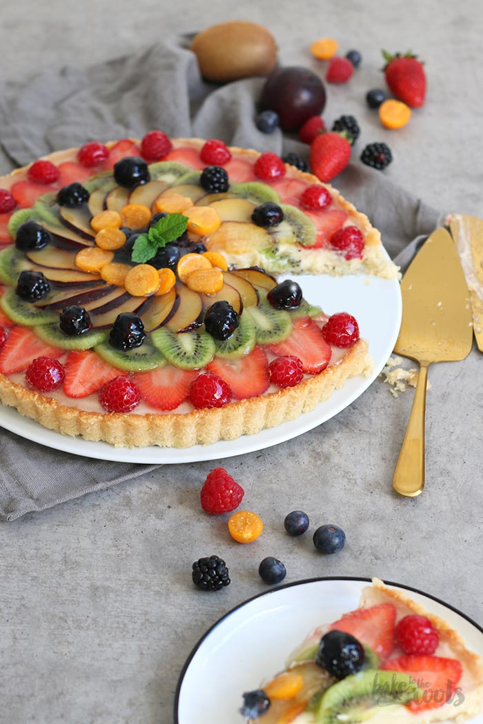 Coconut Pudding Tart with Fresh Fruits | Bake to the roots