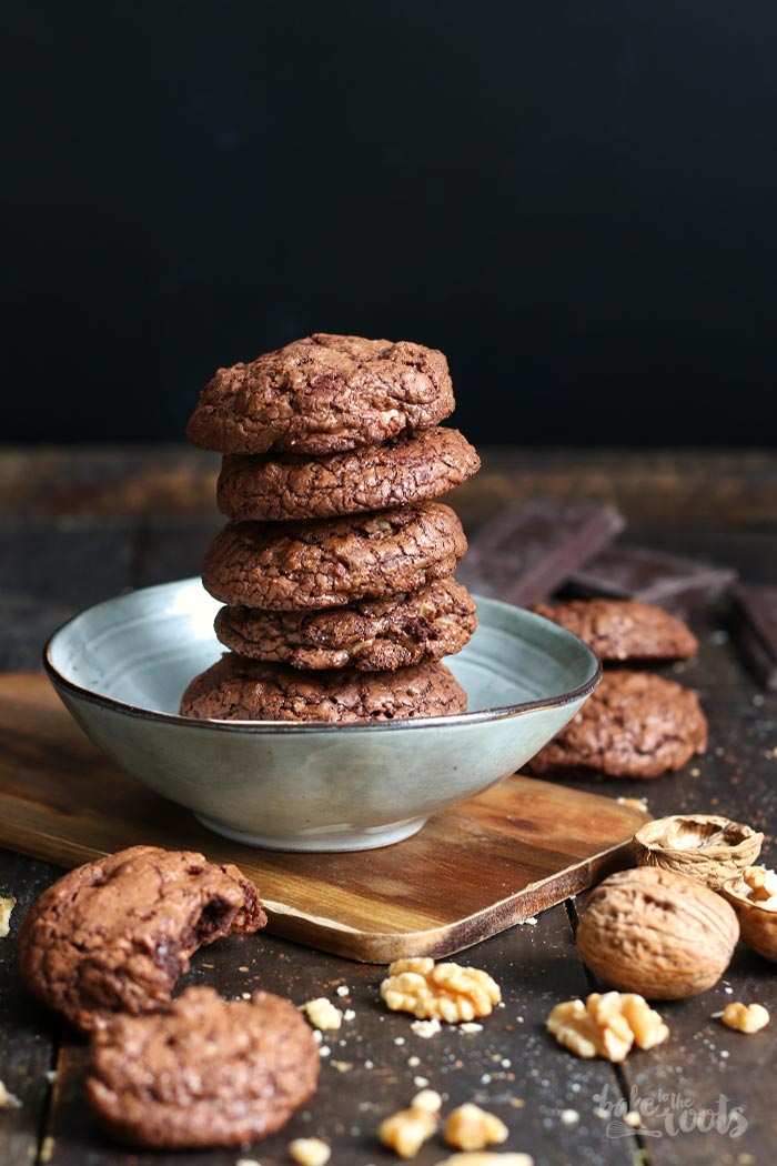 Dark Chocolate Walnut Brownie Cookies | Bake to the roots