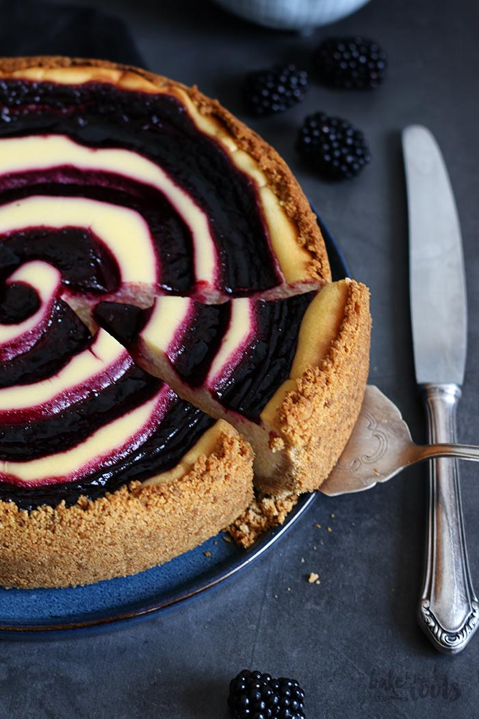 White Chocolate Blackberry Swirl Cheesecake   Bake to the roots