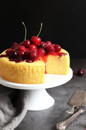 Lemon Ricotta Polenta Cake with Cherries