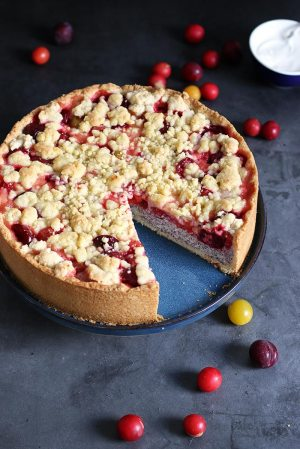 Mirabelle Plum Poppy Seed Streusel Cheesecake
