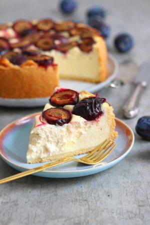 Semolina Cheesecake with Damson Plums