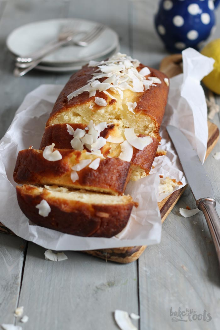 Sugar-Free Lemon Coconut Drizzle Cake | Bake to the roots