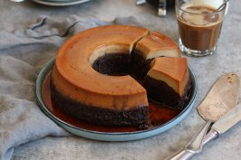 Chocolate Coffee Flan Cake | Bake to the roots