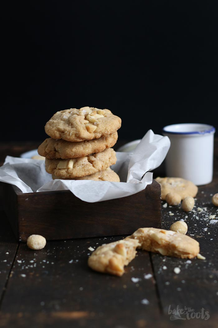 Salted White Chocolate Macadamia Cookies | Bake to the roots