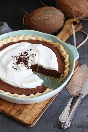 Veganer Chocolate Coconut Cream Pie