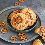Salted Caramel Pretzel Chocolate Chip Cookies | Bake to the roots