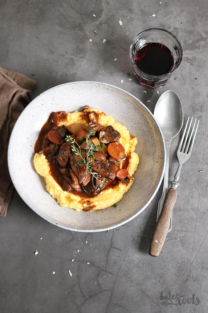 Mushroom Bourguignon with Polenta | Bake to the roots