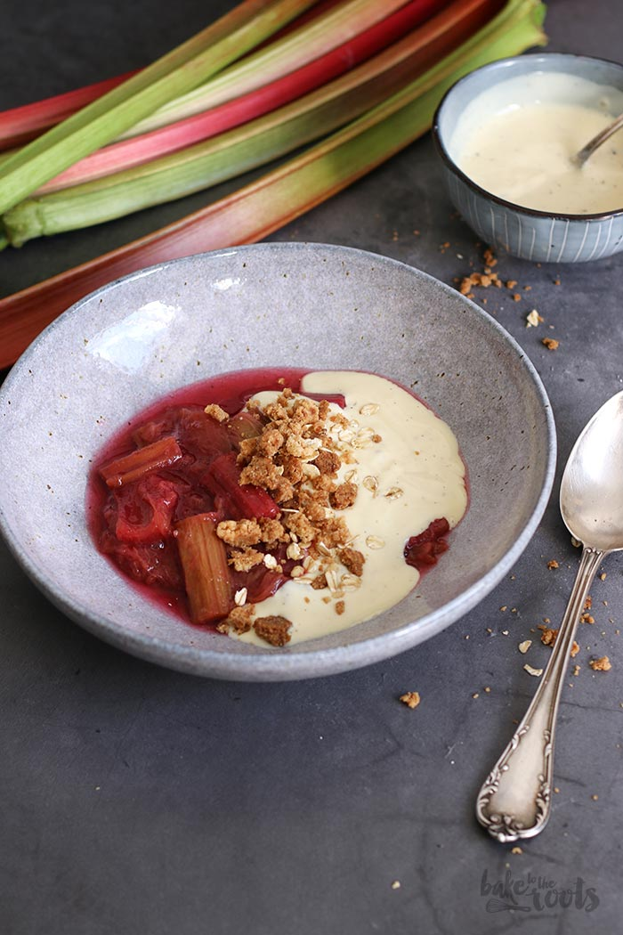Rhubarb Compote with Vanilla Sauce and Streusel | Bake to the roots