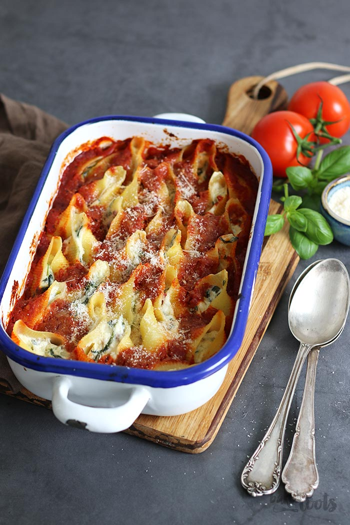 Spinach and Ricotta Stuffed Pasta Shells   Bake to the roots