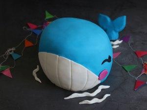 """Whalecome Theo!"" Baby Blauwal Kuchen"